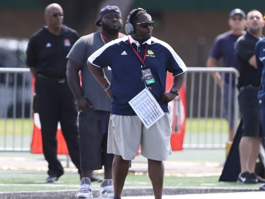 Rod Oden on the sideline during the first half of East English's 38-29 win on Aug. 26, 2017 at Wayne State.