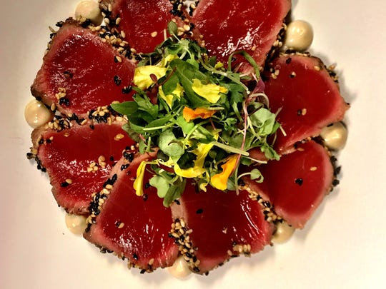 White miso & sesame seeds rubbed lightly on seared bluefin tuna served with honey sansyo aioli & micro greens will be offered at Sandfish by Engin Onural in Palm Springs.