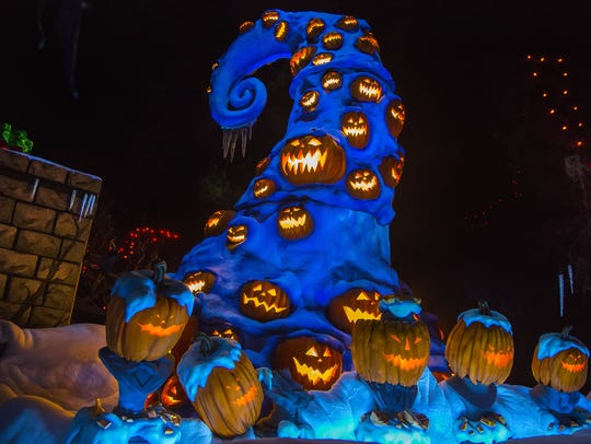 Spooky jack-o-lanterns are part of the vibe as Disneyland