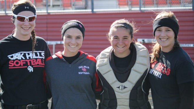 Oak Hills has four seniors this season on what looks to be a deep, balanced team. From left are: Rebekah Finn, Brooke Shad, Bethani Drew and Emily Wolfzorn before practice March 17.