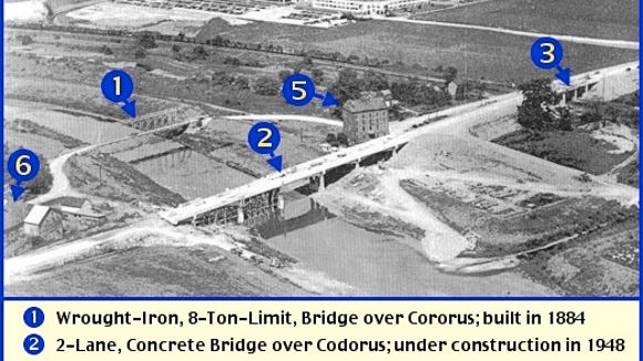 1948 Northeast Looking Aerial View of Bridges over the Codorus Creek, with the York Naval Ordnance Plant in the background; Springettsbury Township, York County, PA (Aerial Photo Originally in Sunday News, York, PA Edition, August 15, 1948; Annotations and Descriptions by S. H. Smith)