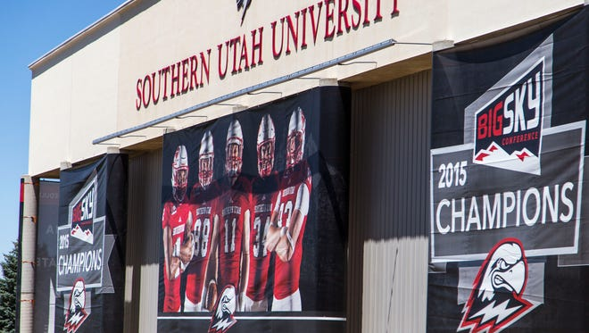 New banners hang from the Eccles Coliseum at Southern Utah University, July 13, 2016.