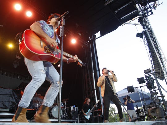 Country duo Dan + Shay performs at the Big Country Bash in St. Charles, Iowa on June 23, 2018.