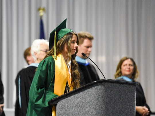 Hoover's Hannah Blackford, shown here at her school's commencement ceremonies in May, is the only senior on the school's softball team.