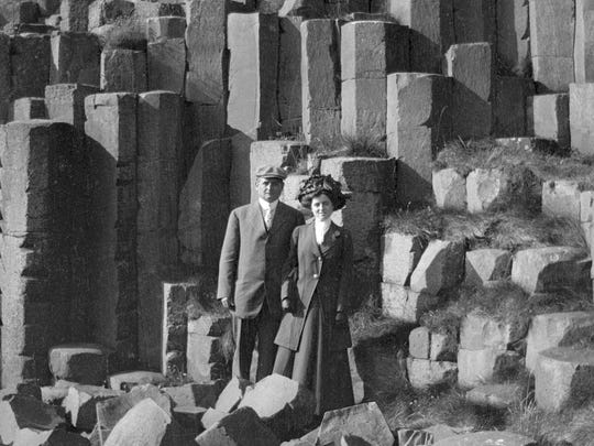 In this 1909 photo, John F. Fitzgerald and Rose Fitzgerald pose at Giant's Causeway in County Antrim, Northern Ireland.