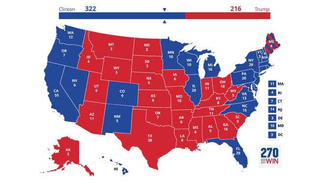 Skip Foster's Election Day presidential prediction map.