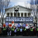 Anti-abortion demonstrators gather during the March for Life in  Washington, D.C., on Jan. 22.