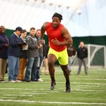 Lansing Eastern graduate and Concordia Ann Arbor linebacker Takari Johnson, shown during Eastern Michigan's pro day in March, is fighting to catch the NFL's eye.