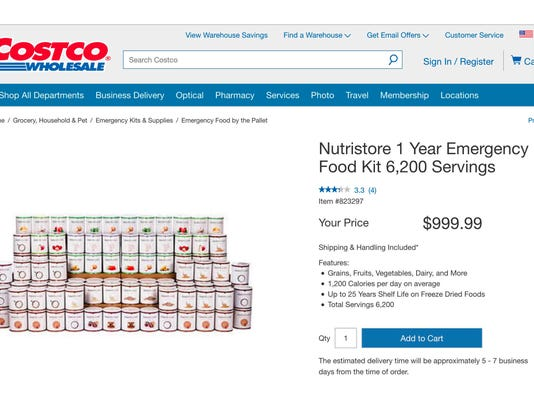 Seeking to survive a disaster? Costco sells a $1,000 food kit that lasts 25 years