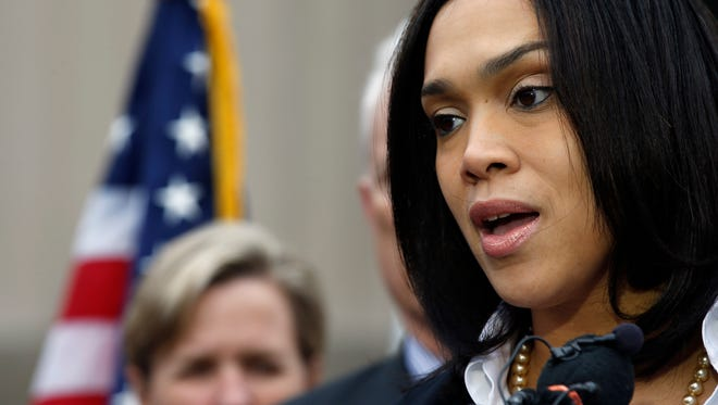 Marilyn Mosby, Baltimore state's attorney, speaks to media May 1, 2015, in Baltimore. Mosby announced criminal charges against all six officers suspended after Freddie Gray suffered a fatal spinal injury while in police custody.