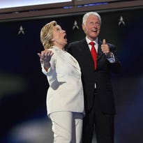 Hillary and Bill Clinton at the Democratic convention July 28.