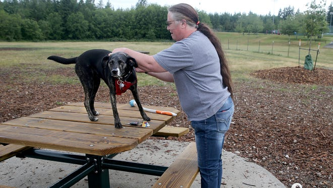 Kim Demko gets her dog, Kama, ready for the off-leash area at Pendergast Park on Friday morning. Numerous improvements have been made at the off-leash area, thanks in part to the efforts of volunteers and grand funding.