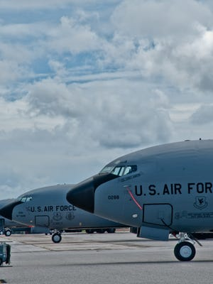The 909th Air Refueling Squadron's KC-135s are shown parked at Andersen Air Force Base during an evacuation precaution in this undated Air Force file photo.