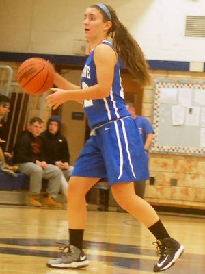Hawthorne sophomore guard Sofia DiFilippo bringing the ball down against Rutherford in the season opener.
