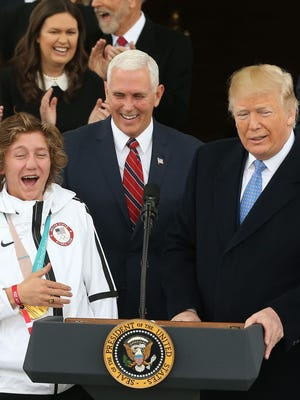 President Donald Trump joked with snowboard gold medalist Red Gerard on Friday at the White House.