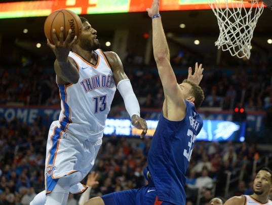 USP NBA: LOS ANGELES CLIPPERS AT OKLAHOMA CITY THU S BKN OKC LAC USA OK