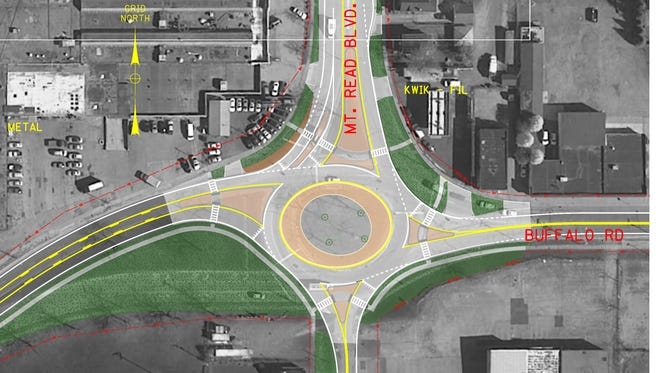 The state Department of Transportation is planning to rebuild the traffic circle at Mt. Read Boulevard and Buffalo Road as a modern roundabout.