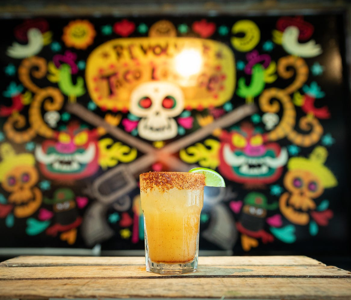 Revolver Taco serves tacos and margaritas in a lounge-like setting.