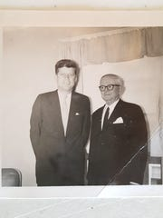 This undated black-and-white photo depicts Gov.  J. Millard Tawes, right, with President John F. Kennedy.