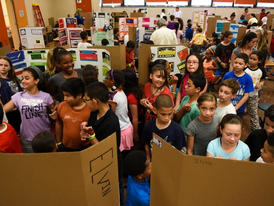 Fifth grade students at Northwest Elementary School, Lebanon, presented their career fair projects on Thursday, May 26, 2016. Students researched careers they were interested in and made posters detailing requirements for the careers, salaries and why they chose the career.