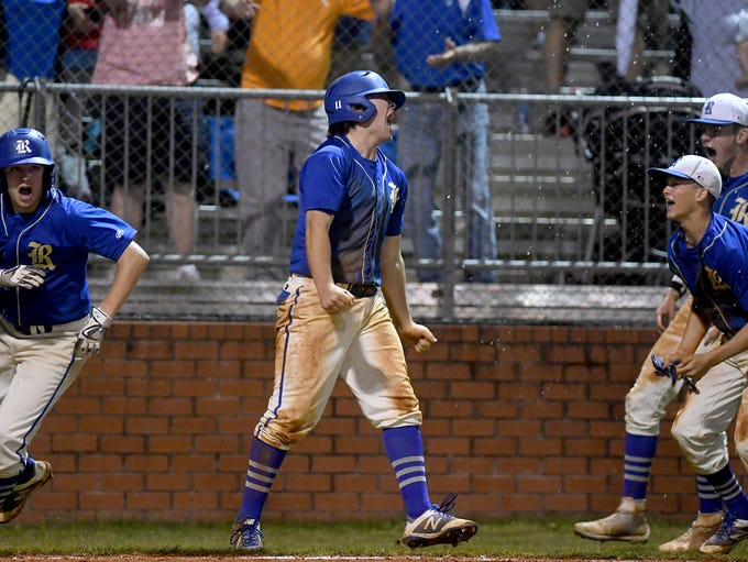 Riverside's Mason Montgomery celebrates after scoring