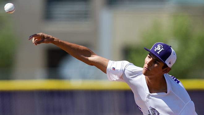 Tyson Miller of Shadow Hills pitches against Apple Valley during a CIF  playoff baseball game held at Shadow Hills High School in Indio on Friday afternoon, May 18, 2012. Photo by Gerry Maceda, Special to The Desert Sun