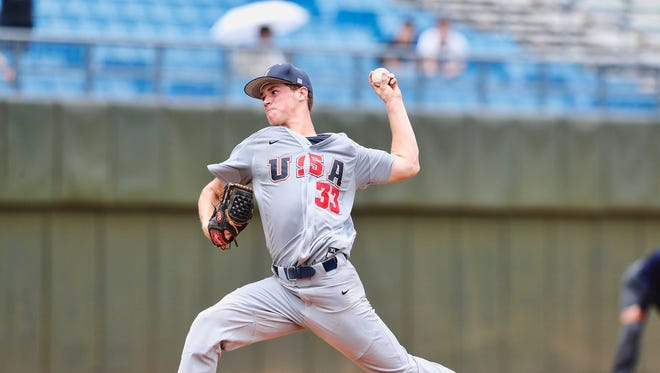 Left-hander Jack Dreyer delivers a pitch during USA Team's 11-5 loss Wednesday, Aug. 23, 2017, at the World University Games in Taipei, Taiwan.