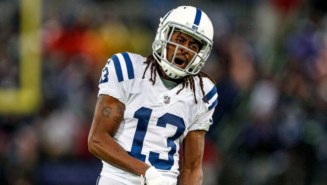 Indianapolis Colts wide receiver T.Y. Hilton (13) reacts after a fourth down play against the Baltimore Ravens late in the fourth quarter at M&T Bank Stadium in Baltimore on Saturday, Dec. 23, 2017.
