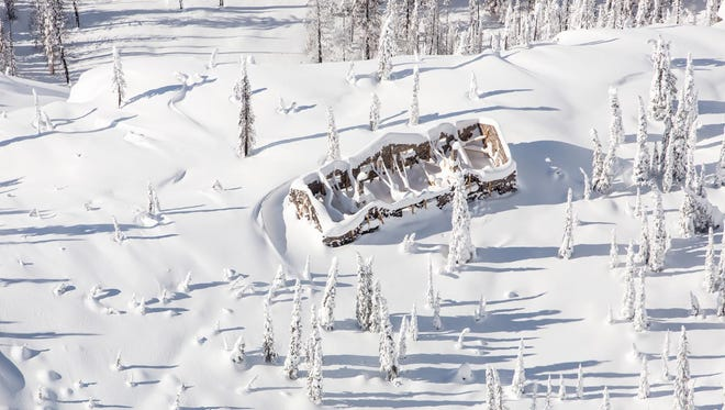 Aerial view of Sperry Chalet on March 21, 2018.