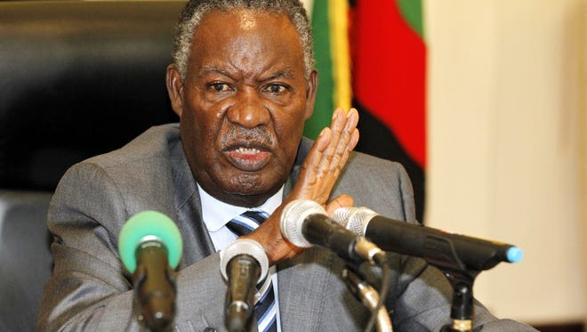 Zambian President Michael Sata addressing the press at State House in Lusaka on April 30, 2012.
