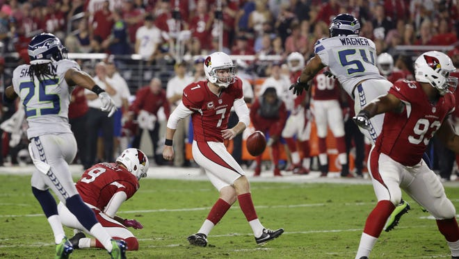 Hurdling over the line to block a kick, as seen here by Seahawks' Bobby Wagner against the Cardinals, is now illegal.