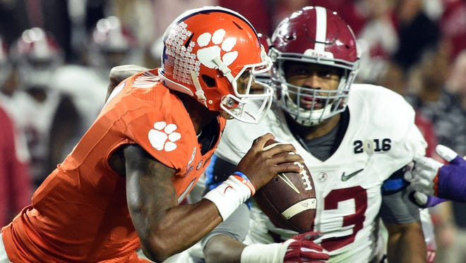 Clemson quarterback Deshaun Watson (left) and Alabama defensive end Jonathan Allen are considered likely All-Americans by many.