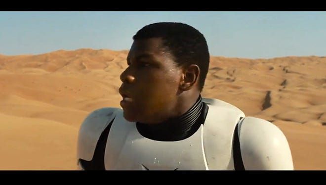"""Actor John Boyega is seen in a still from the """"Star Wars: The Force Awakens"""" trailer."""