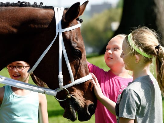 From left, Anna Bell, Laynie Rich and Ava Latta pet retired Ellis Park race horse Sir Dorset during Saturday's 'Run for the Roses' in this file photo.