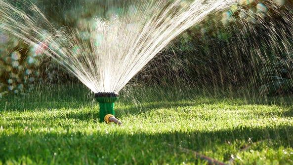 A grass sprinkler