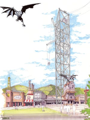 A concept drawing shows the old Belz Mall in Pigeon Forge renovated as the Tower Shops at the Mountain Mile, including the Mountain Monster tower thrill ride - with some monster ideas thrown in.