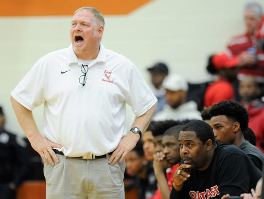 East Nashville head coach Jim Fey yells to his team
