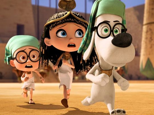 Sherman (Max Charles), Penny (Ariel Winter) and Mr Peabody (Ty Burrell) Sherman, Penny and Mr. Peabody travel to ancient Egypt and find themselves in trouble and having to flee to the WABAC before they reverse history in a scene from MR. PEABODY & SHERMAN. HANDOUT CREDIT: DreamWorks Animation [Via MerlinFTP Drop]