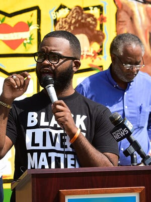 Councilman Delvin Moody speaks during a Black Lives Matter mural celebration on Friday, July 17, 2020 at Kemble Park in Utica.