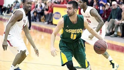 Fairport graduate Brian Sortino, a senior guard for Oswego, has scored 30-plus points eight times in his career.