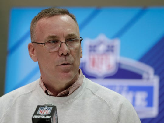 Cleveland Browns general manager John Dorsey speaks during a press conference at the NFL football scouting combine in Indianapolis, Thursday, March 1, 2018. Dorsey is willing to take trade offers for the No. 1 overall draft pick. He's even encouraging teams to make that call. (AP Photo/Michael Conroy)