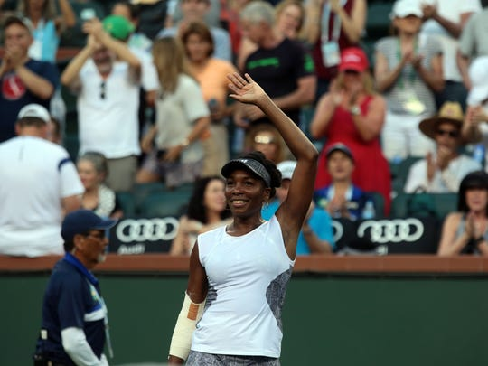 American Venus Williams advance in the BNP Paribas Open after beating Jelena Jankovic of Serbia 1-6, 7-6, 6-1 on Saturday, March 11, 2017 in Indian Wells, CA.