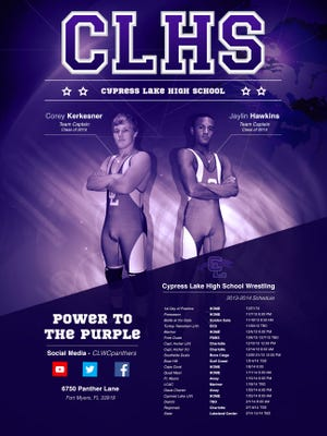 Cypress Lake is a finalist in two categories of the National Wrestling Coaches Association's Best of Brand competition. This poster is in the running for the Better than Good Graphics award for design.