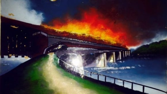 One of a series of paintings of the Columbia Bridge on fire painted by students in 1913 for Columbia's Old Home Week.