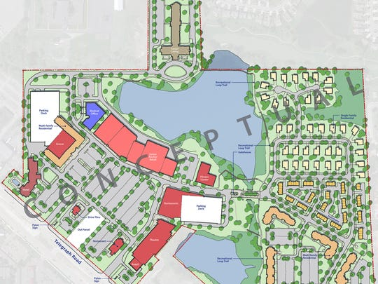 The second of two conceptual renderings for the proposed redevelopment of Bloomfield Park, to be renamed Village at Bloomfield. Received on April 17, 2015.