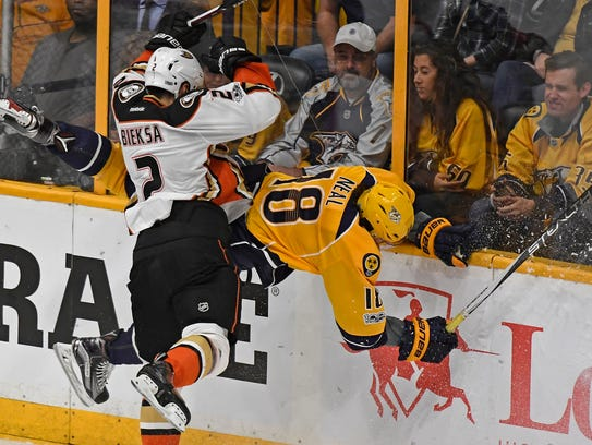 Nashville Predators right wing James Neal (18) takes