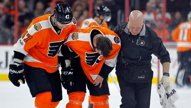 Radko Gudas was helped off the ice April 1, but he later returned to the game. Playing hurt seems to have been a theme for the underperforming Flyers.