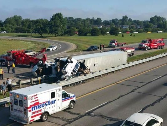No serious injuries in semi-truck rollover crash