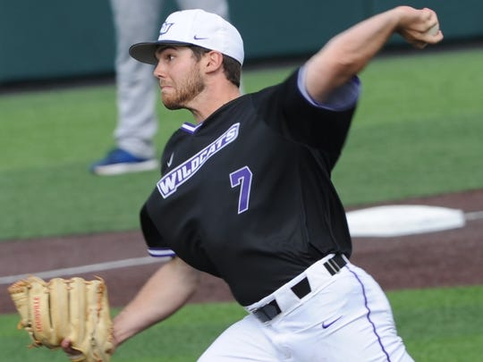 ACU reliever Derek Scott throws a pitch in the ninth inning against New Orleans. The Abilene High grad retired all three batters he faced for his first save in the Wildcats' 6-5 victory over the Privateers on Saturday, March 17, 2018 at Crutcher Scott Field.