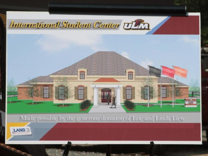 The University of Louisiana at Monroe hosts a groundbreaking for the International Student Center on Monday. ULM alum Eric Liew and his wife, Linda, donated $1 million toward building the facility.